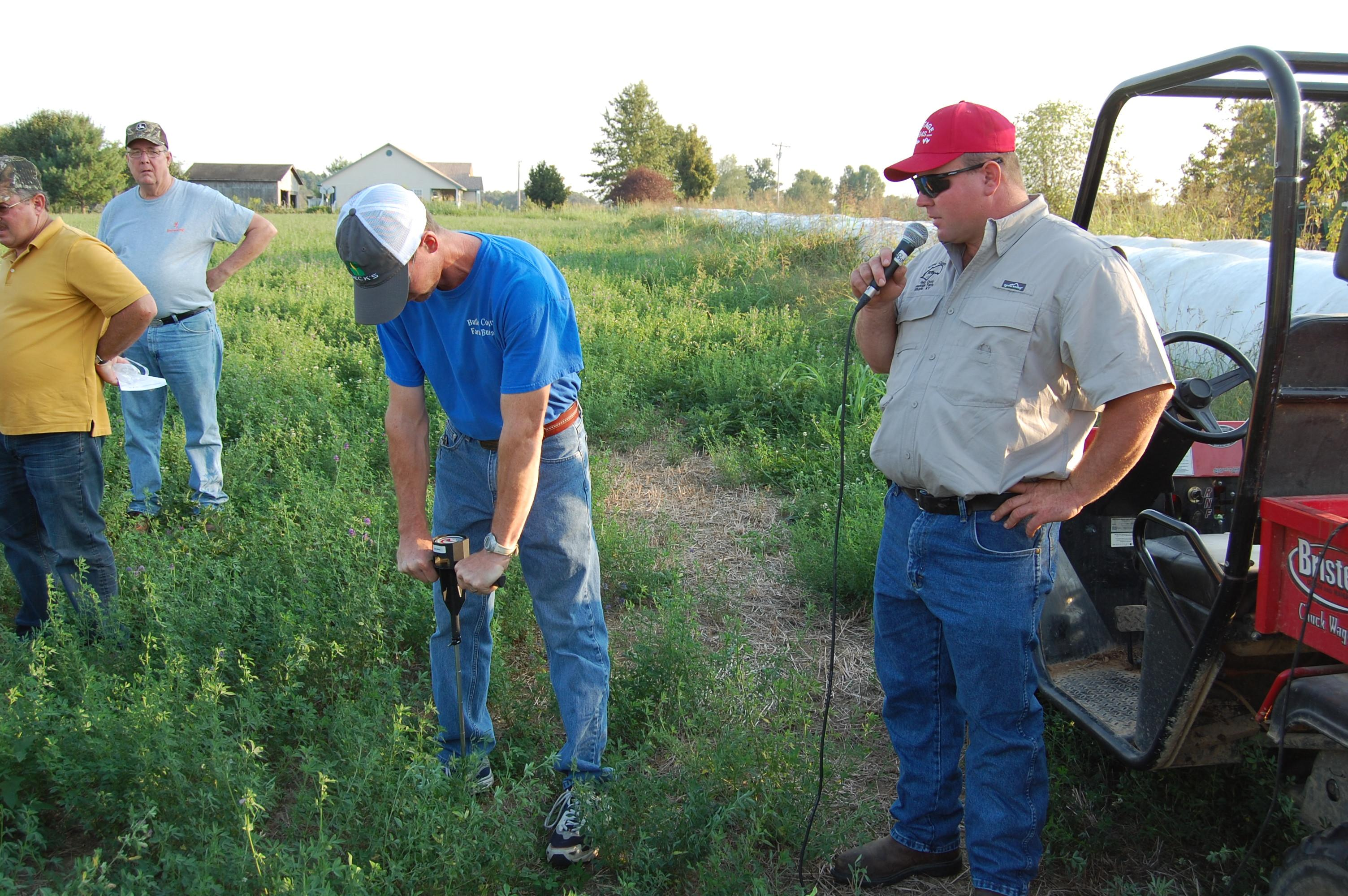 Using a soil compaction meter.