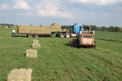 Hay baler demonstration.