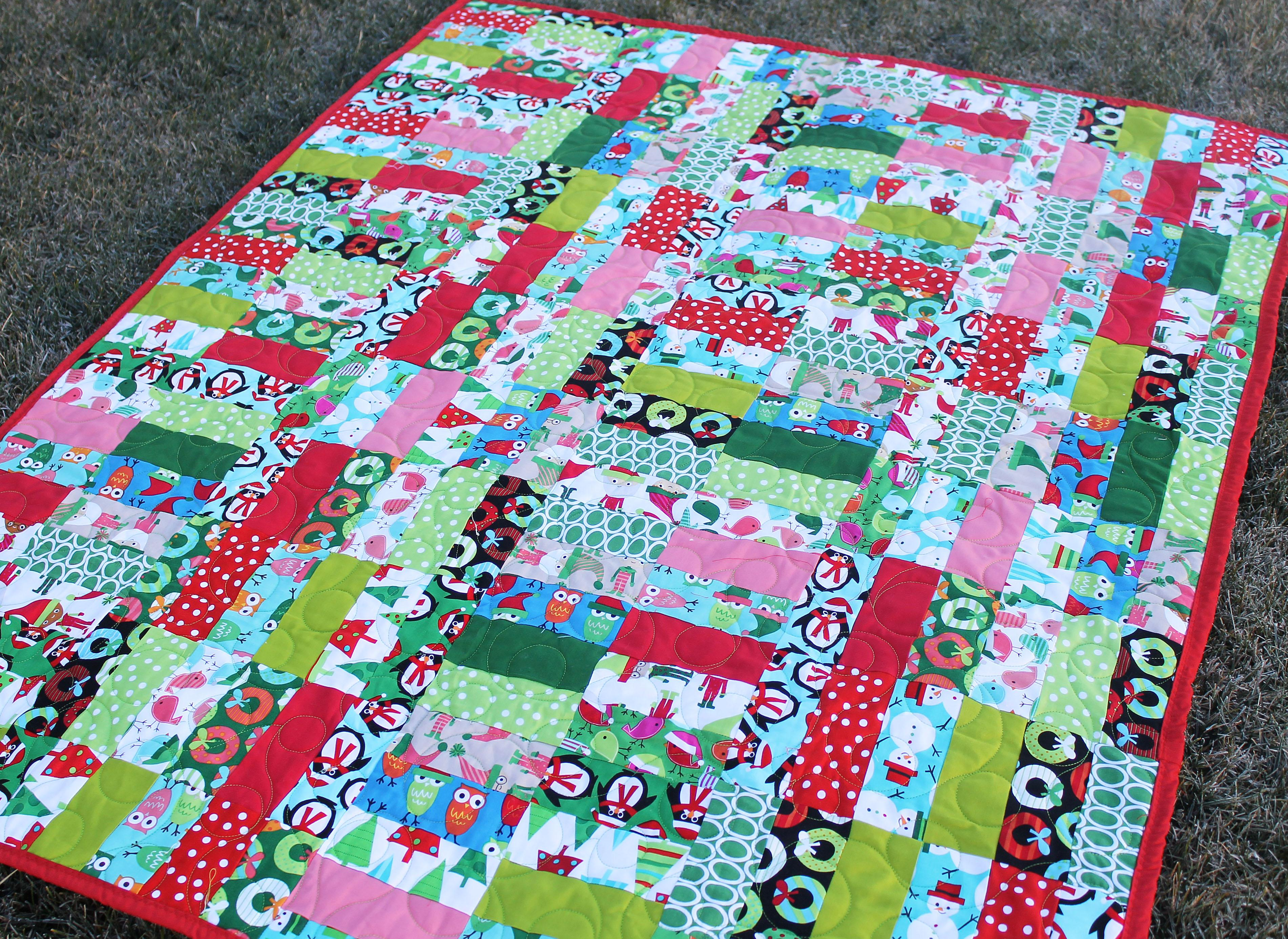 Picture of a jelly roll and jam quilt.